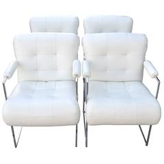 Set of Four Mid-Century Dining Armchairs in White Naugahyde by Milo Baughman