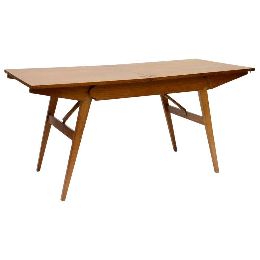Guillerme et Chambron Oak Collapsible Desk/ Cocktail Table
