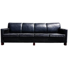 Large Danish Four-Seat Leather Sofa, circa 1950