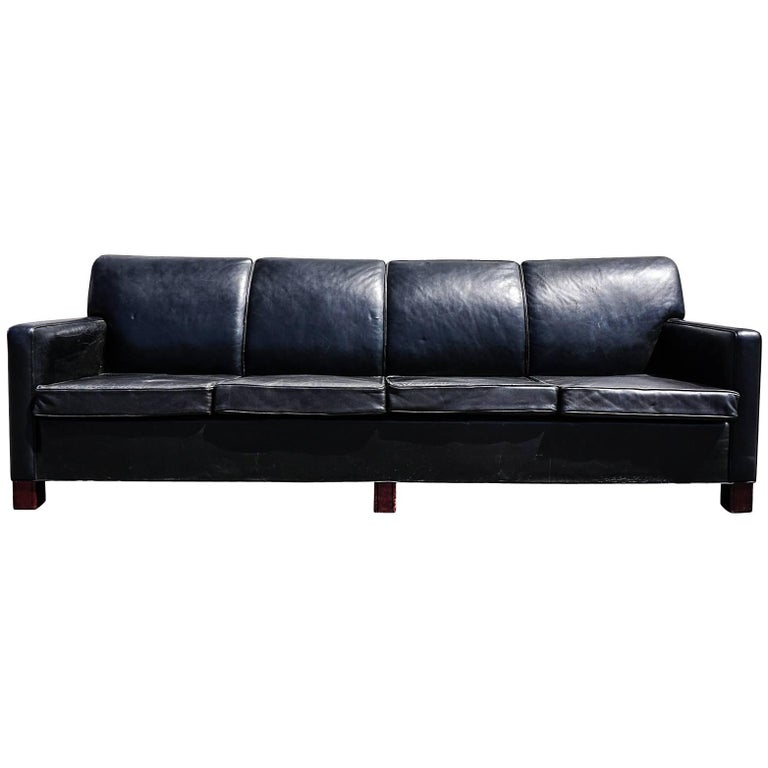 Large Danish Four Seat Leather Sofa Circa 1950 For Sale