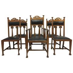 Set of Six Arts & Crafts Chairs with Stylized Floral Inlays Using Pewter Ebony