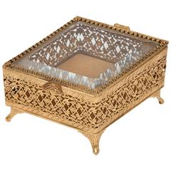 Italian Glass and Gilt Metal Decorative Box