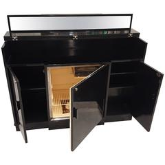 Mid-Century Singer-Penguin Black Lacquered Rosewood Refrigerator of Bar Cabinet