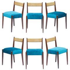 Danish Modern Dining Chairs in Peacock Velvet