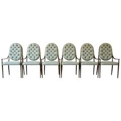 Mastercraft Brass Regency Dining Chairs, Set of Six, circa 1970s
