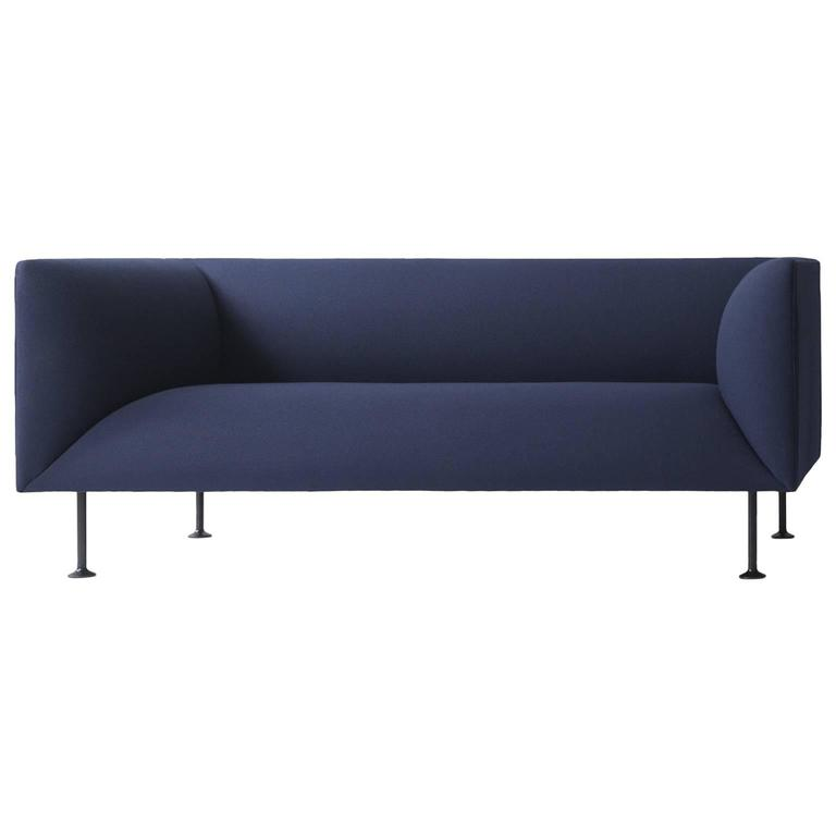Godot Two-Seat Sofa by Iskos-Berlin W. Steel Legs & Fabric or Leather Upholstery