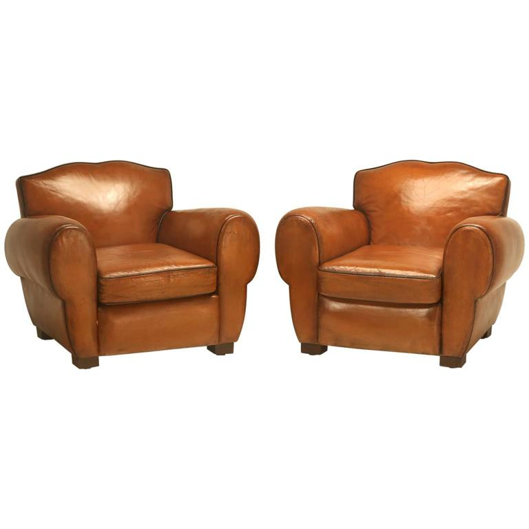 French Pair of Art Deco Leather Club Chairs from the 1930s