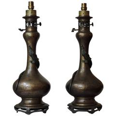 Pair of Golden Brown and Green Patina Bronze Japonisme Lamps with Lizards