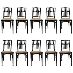 Gustav Siegel for J&J Kohn a Set of 16 Ebonized Bentwood Dining Chairs