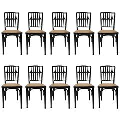 Gustav Siegel for J&J Kohn a Set of 20 Ebonized Bentwood Dining Chairs