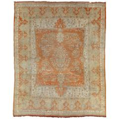 Antique Oushak Carpet, Turkish Rugs, Handmade Oriental Rugs, Ivory Coral Taupe