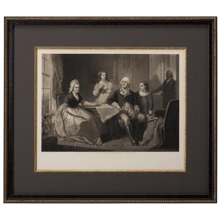 George Washington and His Family 1865 Engraving by William Sartain For Sale