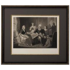 George Washington and His Family 1865 Engraving by William Sartain