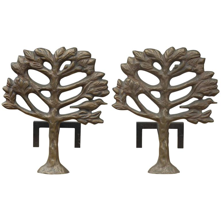 Pair of Bronze Diego Giacometti Style Andirons 1