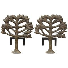 Pair of Bronze Diego Giacometti Style Andirons