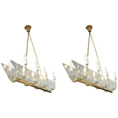 Pair of Italian Eight Light Etched Glass Chandeliers