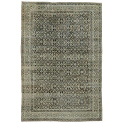 Distressed Antique Persian Yazd Rug with Modern Industrial Style