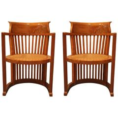 Pair of Frank Lloyd Wright Style Armchairs