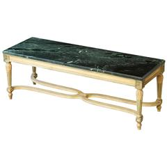Early 20th Century Louis XVI Style Painted Coffee Table with Marble Top
