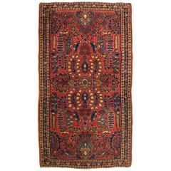 Antique Persian Sarouk Oriental Rug in Small Size, with Traditional Colors