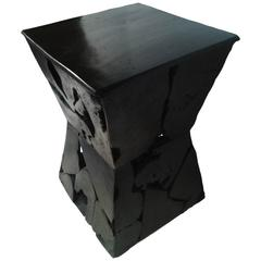 Sculptured Hourglass Wood Side Table