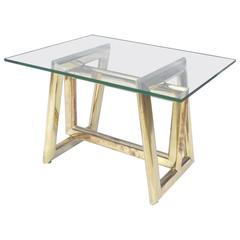 Modern Brass and Glass End Table