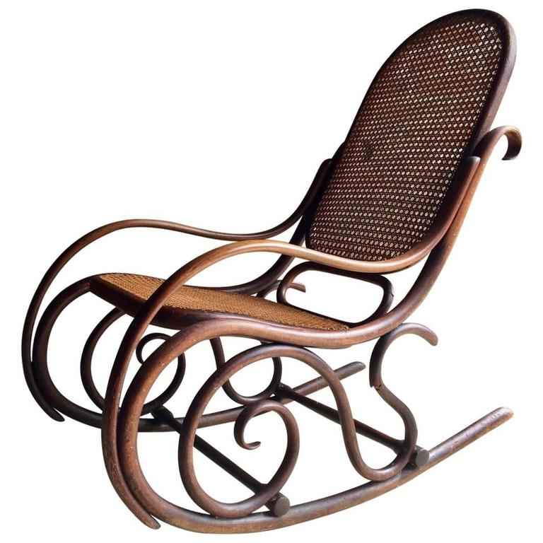 Antique Thonet Chair Bentwood Rocker Cane Victorian, 19th Century For Sale - Antique Thonet Chair Bentwood Rocker Cane Victorian, 19th Century At