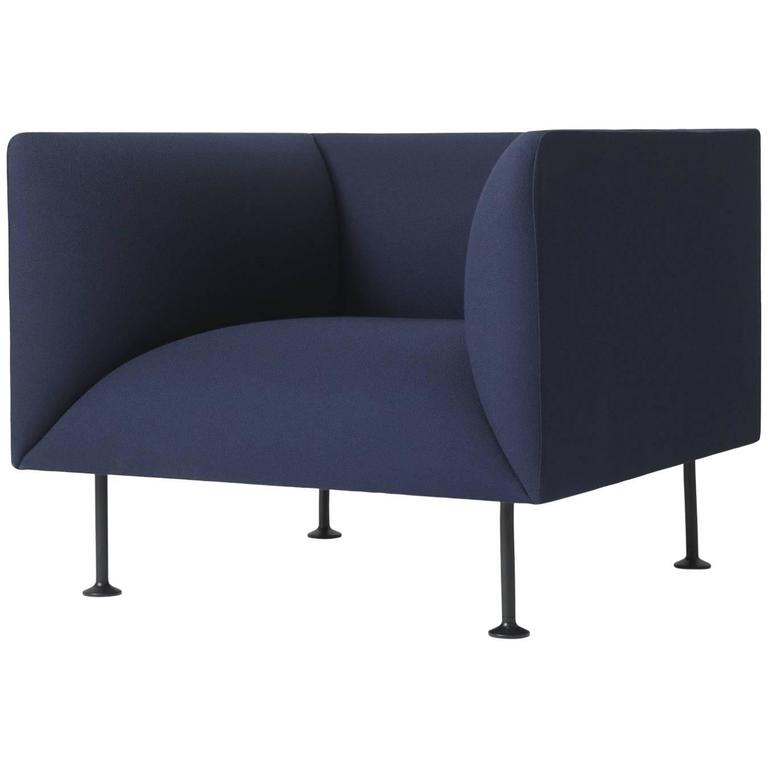 Godot Sofa Armchair by Iskos-Berlin W. Steel Legs & Fabric or Leather Upholstery