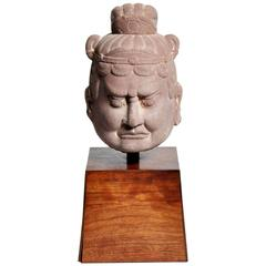 Chinese Tang Dynasty Red Sandstone Lokapala Head