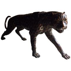 Lifesize Bronze Leopard Sculpture Large and Heavy Prowling Wild Cat