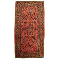 Antique Persian Sarouk Oriental Rug, with Traditional Colors, in Small Size