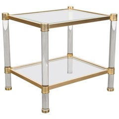 French Rectangular Lucite and Brass Side Table