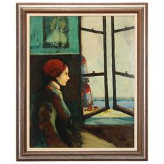 "Donald Roy Purdy ""Lady by the Window"" Oil Painting, 1960s"