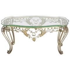 Italian Style Metal Glass Top Coffee Table