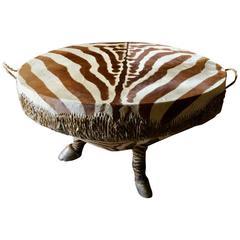 African Zebra Drum Coffee Table Very Large Hoof Legs Taxidermy