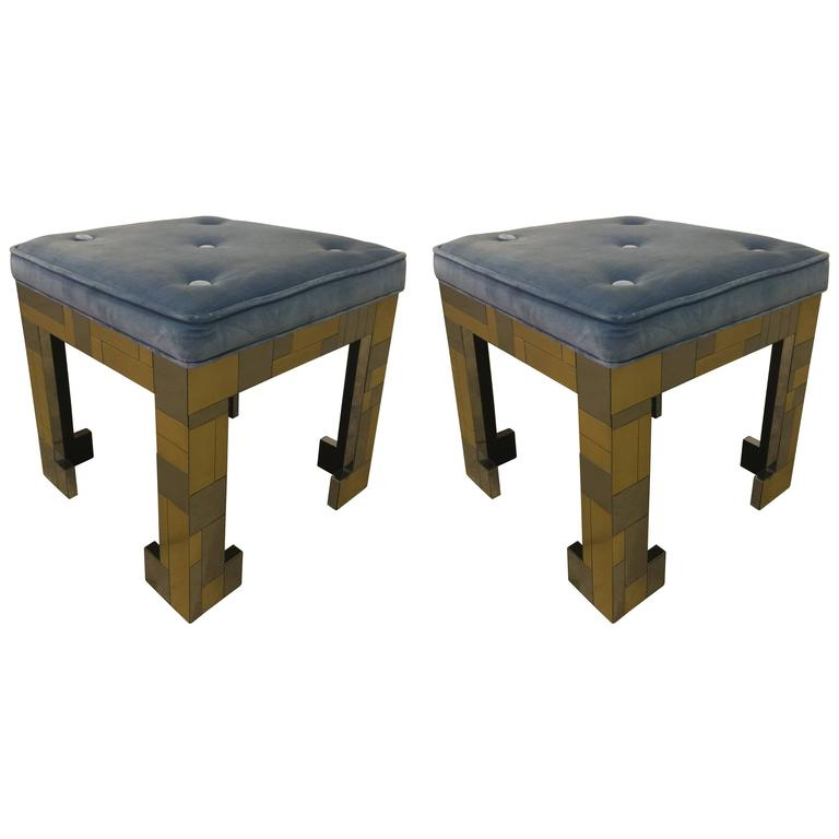 Pair of Paul Evans Style Stools For Sale