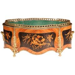 19th Century French Rosewood Oval Jardinière with Marquetry and Bronze Mounts