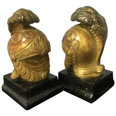 Pair of Gilt Hollywood Regency Roman Bookends by Borghese