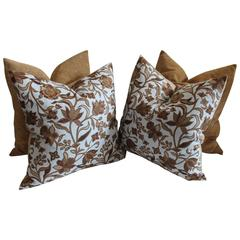 Pair of Flower Stencil and Chenille Pillows