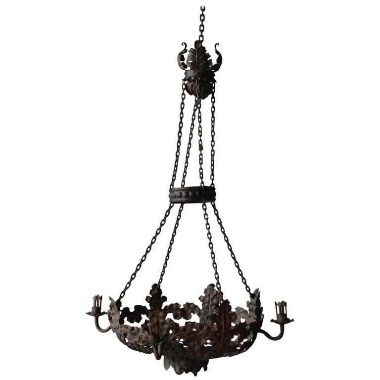 Late 19th Century Italian Tole Chandelier For Sale
