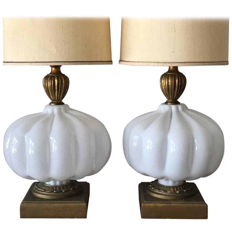 Pair Of Unusual Cased Glass Lamps For Sale At 1stdibs