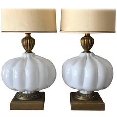 Pair of Unusual Cased Glass Lamps