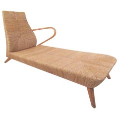 Mid-Century Modern Woven Chaise Lounge