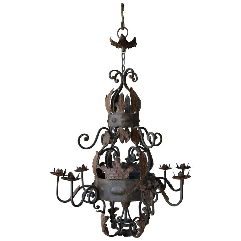 Antique French Iron Chandelier For Sale