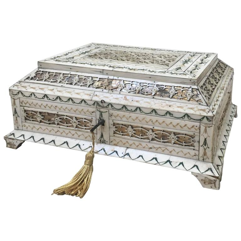 Early 19th Century Russian Stained and Carved Bone Table Casket For Sale