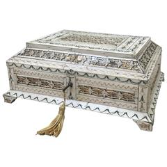 Early 19th Century Russian Stained and Carved Bone Table Casket
