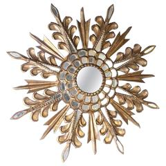 Gold Sunburst Mirror with Glass Accents, circa 1970