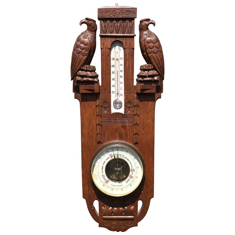 Early 1900 Good Size Hand-Carved Wall Barometer with a Pair of Falcon Sculptures