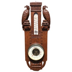 Unique Arts & Crafts Hand-Carved Wall Barometer with a Pair of Eagle Sculptures