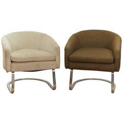 Pair of Milo Baughman Style Cantilever Chairs